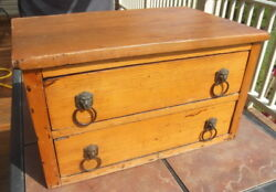 Antique 2 Drawer Pine Cabinet With Lion Head Pulls