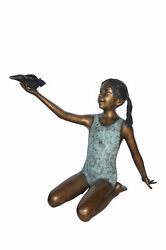 Sitting Girl Holding Shell Bronze Statue Fountain - Size 32l X 22w X 25h.