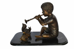 Boy With Rabbit And Squirrel Bronze Statue - Size 22l X 13w X 16h.