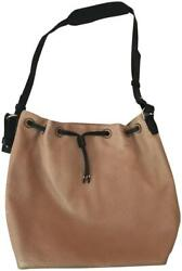 Banana Republic Leather Bucket Perforated Drawstring Brown + Black Leathe Nwt
