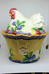 Fitz And Floyd Essentials - Nesting Hen Covered Bowl 7.5 Tall - Euc No Box