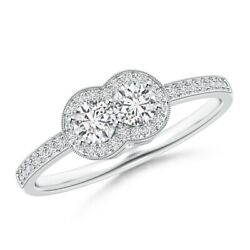 0.5ctw Two Stone Diamond Halo Engagement Ring In 14k Gold/platinum