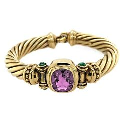 DAVID YURMAN BRACELET 14K Yellow Gold Amethyst Bangle Renaissance Estate Jewelry