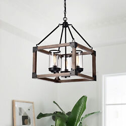 3-light Pendant Chandelier Antique Black Wooden Cage Glass Cylinders Cage Rustic