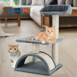 ScratchMe Cat Tree Condo Climbing Tower w Hammock Scratching Post amp; Perches