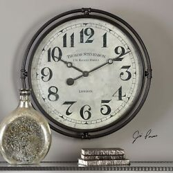 Xxl 30 Industrial Vintage Iron London Style Wall Clock Aged Face