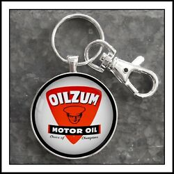 Oilzum Motor Oil Can Label Photo Keychain Pendant Gift Collectible