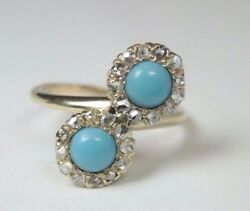 Victorian Antique Persian Turquoise 14k Yellow Gold Ring Size 6 Uk-l1/2 Uk-l1/2