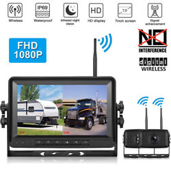 Fhd 1080p 7'' Monitor Digital Wireless Dual Backup Camera System For Truck Van