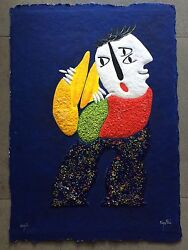 Juan Garcia Ripolles Painting On Paper With Murano Glass Ripollés Ixx/l Musician