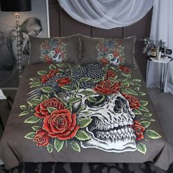 Skull Bird Crow Rose Floral Red Double Single Quilt Duvet Pillow Cover Bed Set