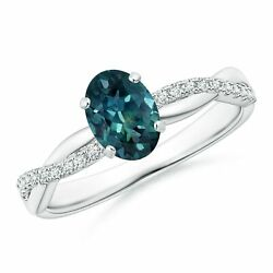 Natural Oval Teal Montana Sapphire Ring With Diamonds In Silver/gold/platinum