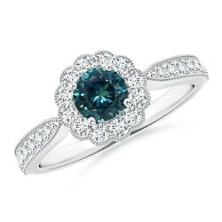 Vintage-style Teal Montana Sapphire Ring With Halo In Silver/gold/platinum