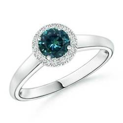 Classic Round Teal Montana Sapphire And Diamond Halo Ring In Gold/platinum
