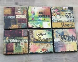 The Kelly Rae Roberts Collection 6 X 6 Wall Art Lot Wish Faith Explore Brave ++