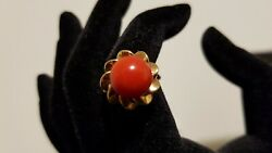 Vintage Nature True Color Red Coral Womenand039s 18k Gold Ring New Size 6.5