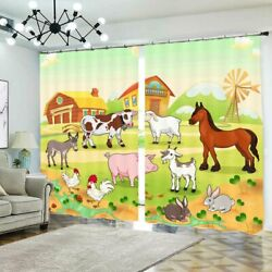 Cows Pig Horse Chicken 3d Curtain Blockout Photo Printing Curtains Drape Fabric
