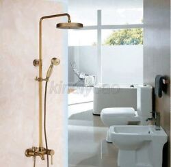 Antique Brass Shower Faucets Set Wall Mounted Tub Spout Mixer Tap Handheld Spray