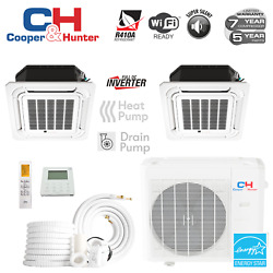 18000 Dual Zone Ductless Mini Split Ceiling Cassette A/cs 12000 12000 And Kits