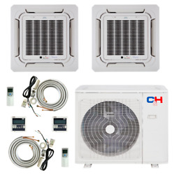 2 Zone Ductless Mini Split Ceiling Cassette A/c 9000 12000 With Remotes And Kits