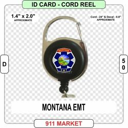Montana EMT Patch Cord Reel ID Card Badge Retractable Emergency MT Holder - D 50