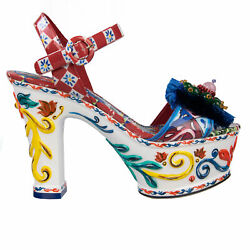 Dolce And Gabbana Carretto Majolica Jeweled Sandals Pumps Shoes White 08217