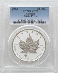 2013 Canada Maple Snake Privy 5 Dollar Silver Reverse Proof 1oz Coin Pcgs Sp70