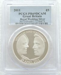 2011 Royal Wedding William Kate Andpound5 Five Pound Silver Proof Coin Pcgs Pr69 Dcam