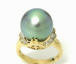 Ladies 18k Yellow Gold Gray Tahitian Pearl And Channel Set Diamonds Ring