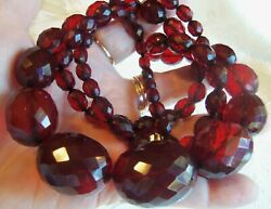 Antique Long Large 38 Inch Cherry Amber Bakelite Bead Necklace Beautiful 85gr