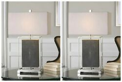Two Urban Modern Decor 28 Table Lamps Polished Nickel Metal Frame Uttermost