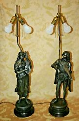 Nice Antique Pair 34 Victorian Spelter Figural Lamps - Man And Woman W/ Mandolins