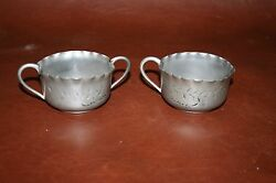 Rustic Antique Style Triple Silverplate Etched Cream And Sugar - Novelty Silver Co