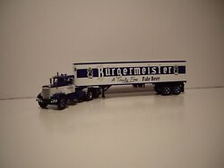 First Gear Dcp 1/64 Blue And White Burgermeister Pete 351 And Dry Van Trailer