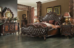 Traditional Design Cherry Brown 5 piece Bedroom Set w King Faux Leather Bed AA5