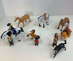 Plastic Horses People Figures Mixed Lot of 13 New Ray Dwallc amp; Others Saddle