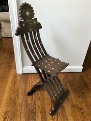 Syrian mother of pearl inlaid folding chair - 19th century-Middle Eastern