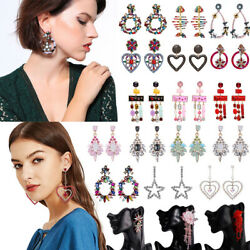 Fashion Rhinestone Crystal Pearl Tassel Earrings Set Women Ear Stud Jewelry Gift