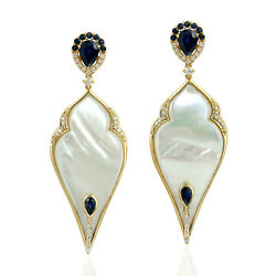 Natural Mother Of Pearl Dangle Earrings 18k Yellow Gold Jewelry On Sale