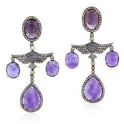 42.93ct Natural Tanzanite Chandelier Earrings 18k Yellow Gold 925 Silver Jewelry