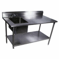 John Boos 96 Stainless Prep Table W/ 2 Sinks Drawer And Cutting Board