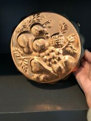 Vintage Tin Lined Copper Mold Nice Patina Fruit Motif French Country Kitchen