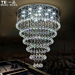 Modern Crystal Duplex Chandelier Lamp Dining Room Hall Staircase Pendant Lights