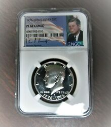 1776-1976 S Ngc Pf68 Cameo Proof Silver Kennedy Half Jfk Coin Signature Lb⭐272⭐