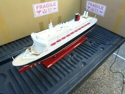 Queen Mary Ii High Quality Wooden Model Ship With Led Lights 32 Fully Assembly