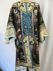 Antique 19th Century Navy Blue Chinese Robe With Embroidered Cuffs And Hem