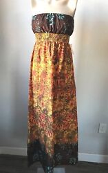 NWT FOREVER 21 FLORAL BOHO HIPPIE 70'S STYLE TUBE MAXI DRESS M MEDIUM  SFS