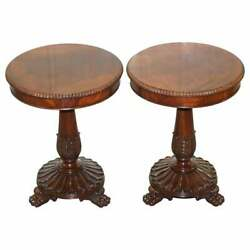 PAIR OF RRP £10,000 RALPH LAUREN LAMP SIDE END WINE TABLES LION HAIRY PAW FEET