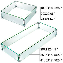 Outdoor Fire Pit Wind Guard Tempered Glass Flame Guard Rectangle/square Clear