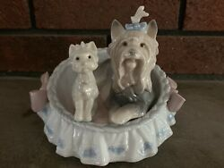 Lladro Our Cozy Home 6469 Yorkshire Terrier Dog Puppy in Bed Figurine